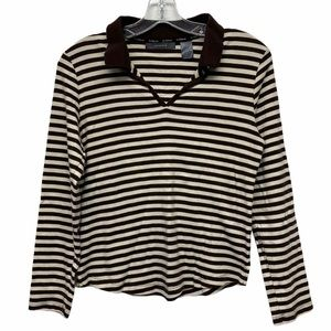 Liz Claiborne brown and white stripe top petite L